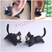 Personalized handmade  polymer clay accessories earring earrings cartoon cat ear stud earring