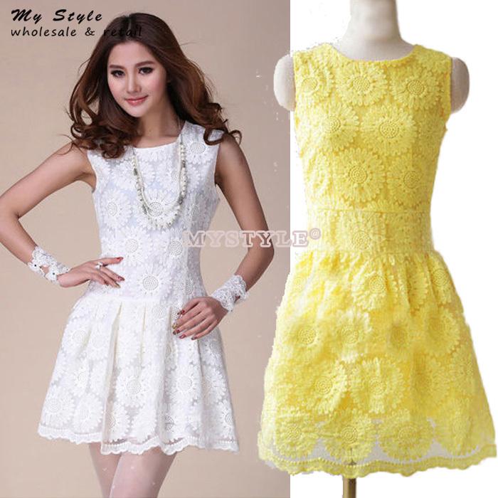White Lace Dress White Yellow Lace Dress