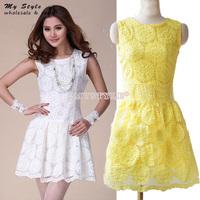 NEW 2014 Summer Autumn Fashion White Yellow Lace Dress Sleeveless Tank Mini Women's Dresses Elegant Women Work Wear 2085