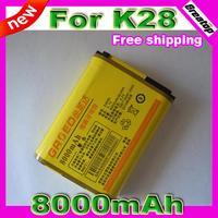 100% real 8000mAh Original E4000 Li-on battery for Nitom K28 phone Dual Sim Loud speaker 1 pcs free shipping