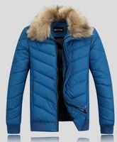 NEW 2014 men winter jacket coat Men fur Collar Warm outdoor parkas cotton padded down&parks MT5046