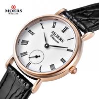 Moers watches men luxury brand Military Quartz  Watch relogio masculino Genuine leather women dress men Business Wristwatch