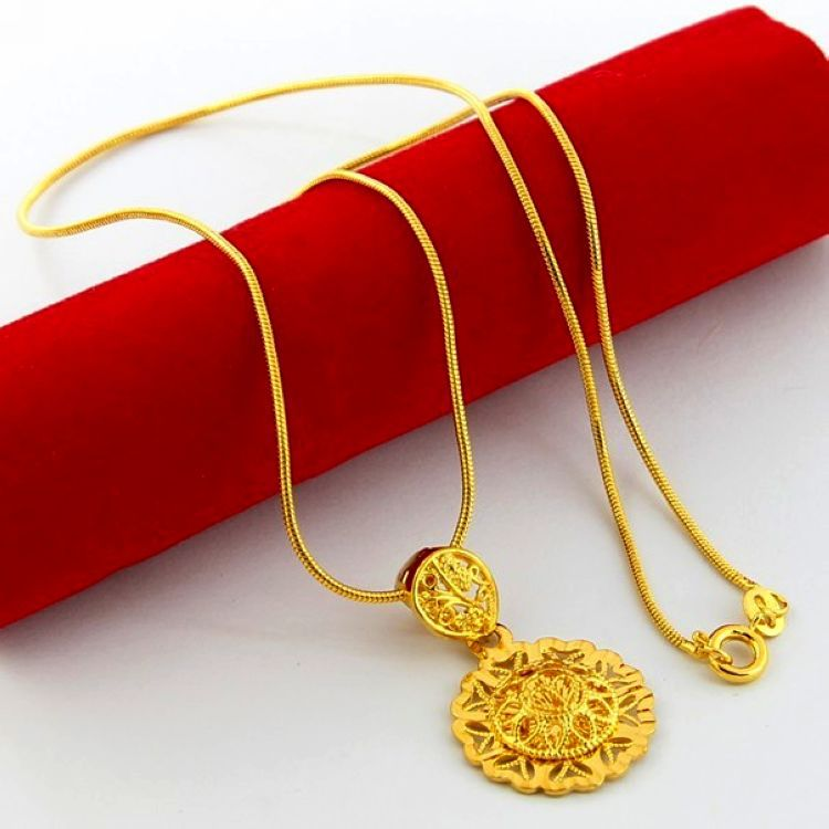 24K Yellow Gold Plated Necklaces ! Luxury Africans Blacks Man Women Hollow Round Snake Chains Pendant Necklace Jewelry YJP034(China (Mainland))
