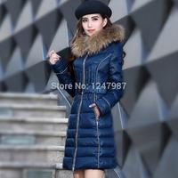 новые зимние пальто женщин мода утка ветровки дамы куртки долго похудеть бренда с капюшоном меховой воротник casaco