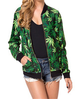 2014 new brand women fashion harajuku cannabis leaf 3d print sweatshirts zipper jacket jogger wear tracksuit
