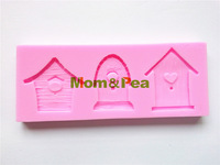 Mom&Pea 0177 Free Shipping Houses Shaped Silicone Mold Cake Decoration Fondant Cake 3D Mold Food Grade Silicone Mould