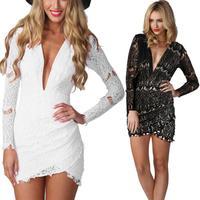 014long sleeve crew neck bag hip nightclubs dress sexy 3 color lace dress bandage mini bodycon dress frozen dress elsa dress