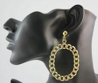 Free Shipping Fashion Gold Metal Geometry Hollowed Dangle Letter O Ear Dangle Earrings For Women