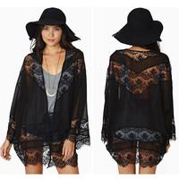 Women Batwing Sleeves Blouse Feminino Blusas Tops Casual Black  Kimono Cardigan Hollow Lace Spliced Chiffon Coats New AY657246
