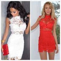 014The latest  sexy lace necked Sleeveless Dress Party bandage dress mini bodycon dress frozen dress elsa dress