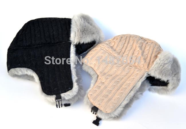 Fashion women bomber hat aviator Russian Knitting Wool The pure color caps Earmuffs Keep warm cap Couples hats Free shopping(China (Mainland))