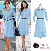 Blue White Dot A-Line High Waist Dress Women 2014 Fall Winter New Fashion Casual Brand Office Ladies Dresses With Belt Vestidos