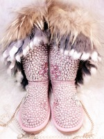 Fasion Women Winter Warm Shoes Lady Boot Peal fox fur snow boots long winter boots high boots
