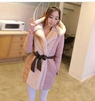 2014 jacket Women plus size wadded jacket cotton-padded jacket medium-long down coat