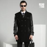 2014 Winter New Arrival 100% Genuine Goatskin Leather Sleeve Men's Woolen Coats & Jackets Slim Fit Business Style Garment