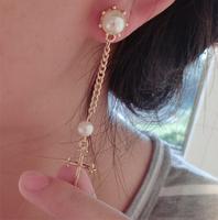 New fashion women statement jewelry elegant queen styles pearl cross dangle earrings design long earrings 12pair/lot x485