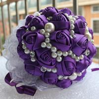 Handmade Purple Ribbon Wedding Bouquet Decorative Artificial Rose Wedding Flower Bridal Crystal Pearl Silk Bouquets