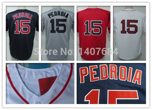 Boston Red ##15 Dustin Pedroia Baseball Jerseys Pedroia 100% Embroidery Mens Blue Cool Pedroia Jersey Cheap Blue Top Quality(China (Mainland))
