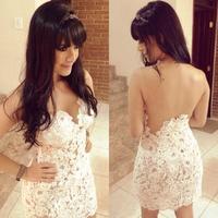 014 Hot sexy slim skirt dress white crochet yarn splicing hollow dress bandage mini bodycon dress frozen dress elsa dress