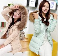 New winter jacket women slim big fur collar thickening coat hooded medium-long duck down parka plus size outwear casual overcoat