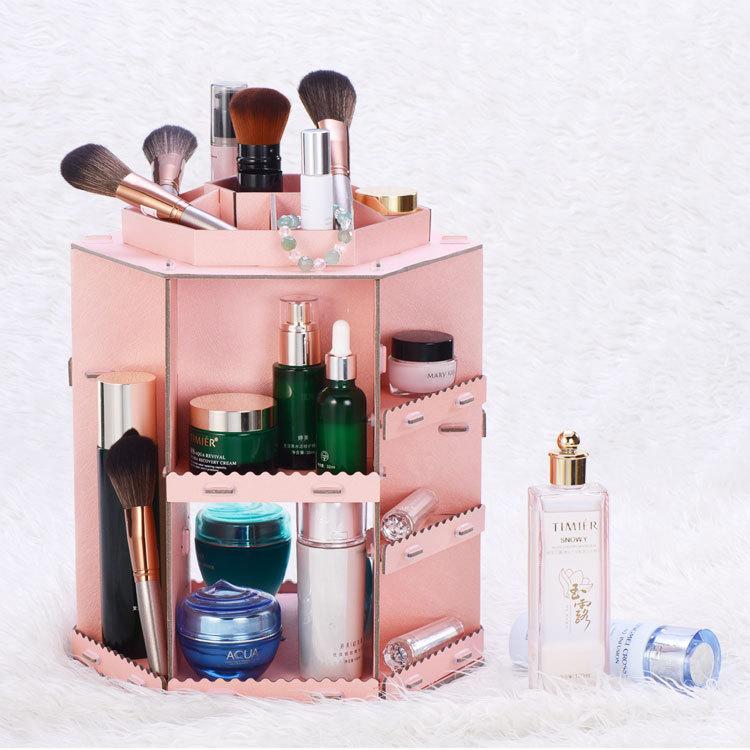 Receive a case large rotate 360 degrees desktop cosmetics Creative make-up dresser receive a case(China (Mainland))