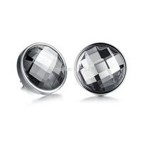 Stainless Steel Round Austrian Crystal Stud Earrings