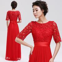 Bridal evening dress red long design 2014 slim evening dress for women