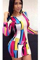 2014 high street vestidos Casual style dress Geometric Print Long-sleeve Autumn-Winter Sexy Mini Dresses women clubwear