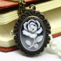 Vintage Women's Pocket Watches Necklace Reloj De Bolsillo Dropship Charming Bronze Hand Wind Dropship