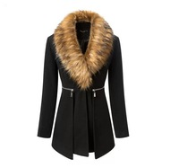 Fashion Brand  Women Long Coat 2014 Autumn/Winter New Female Black Fur Collar Long Sleeve Zipper Woolen Overcoat S/M/L