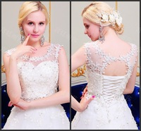 Luxury Romantic Scoop Sexy Backless Sleeveless Princess Crystal Flower White Lace Up Wedding Dress Bridal Gown(XNE-WD124)