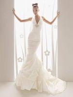 Custom Fashion Halter Organza Mermaid/Sheath Wedding Dress