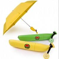 2014 new Banana umbrella thirty percent uv protection umbrella folding umbrella Um-banana ( Yellow / Green ) Novelty Umbrella