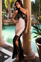 New 2014  Lace Spice up One shoulder Maxi Bandage Dress sheath sexy&club solid slash neck  LC28191