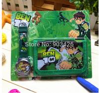 Free shipping! Toy Gift Fashion Movie Character Ben 10 Kids Watch Set Cartoon Watch Set (Watch +Wallet ) G4143 Wholesale