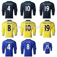 2015 Chelsea Long Sleeve Jersey 14/15 HAZARD DIEGO COSTA DROGBA OSCAR Soccer Jerseys Chelsea Long Sleeve 14 15 Blue Black Yellow