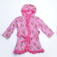 4-14yrs girls Kids Warm Bathrobes Pajamas Robes Cartoon design childrens Coral Fleece Sleepwear hooded style 196 Free Shipping