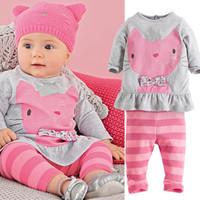 2014 Autumn winter baby sets cartoon cats set twinset long sleeve Shirt+striped pants children clothing set girls boys clothes