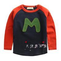 2014 autumn children's clothing male child m letter long-sleeve T-shirt children baby boy child t-shirt top