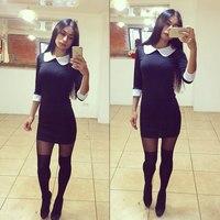 Women Black O-neck Dress Fashions 2014 Winter Sexy Women Dress Clothing Set Office Lody Dresses Free Shipping