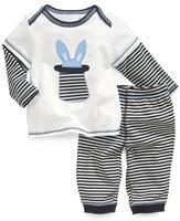 100% cotton male child long-sleeve T-shirt set white baby long-sleeve T-shirt trousers stripe twinset