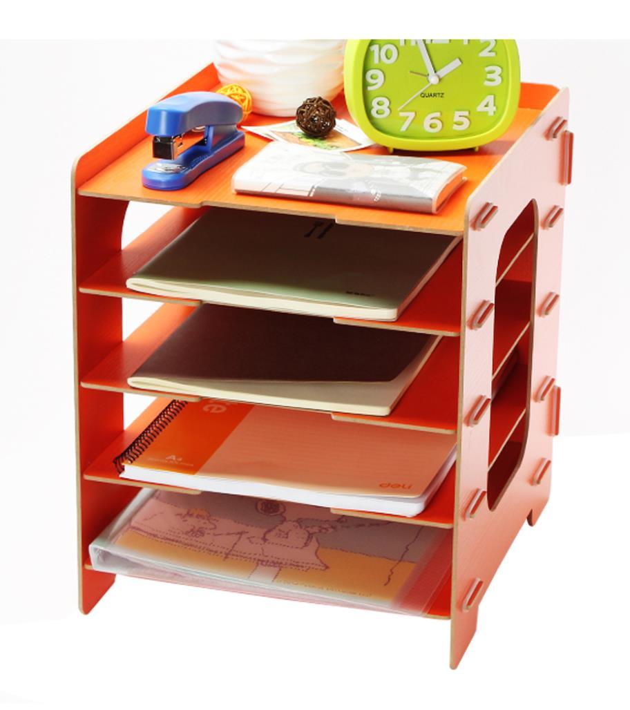 Umiwe 5 Tier File Trays Wooden Home Office DIY Desk Storage Organizer(China (Mainland))