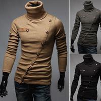 Free shipping 2014 new Korean version of Xie Jin sweater Korean men more than decorative buttons repair height collar shirt