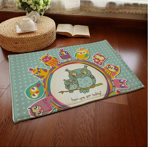 Bed Rushed  Machine Made Door Bathroom Carpet  Hot owl Mats Non-slip European Carpet Doormat Gift(China (Mainland))