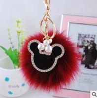 fox fur keychain pearl pandent cute animal keychain girl gift birthday gift free shipping