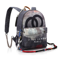 2015 Fashion Printed Women Men Vintage CC Brand Canvas Backpack Embellished with Multicolored Ropes School Travel Bags