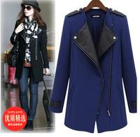 Hot 2015 New winter Autumn Korean long section coat zipper stitching woolen coat women windbreaker jacket Free shipping