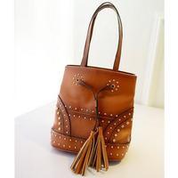 Fashion rivet style Vintage Lady Leather Handbags boston Shoulder Bags Women Handbag good quality Bucket messenger bag -8
