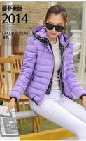 2014 new arrival sweet cute down jacket women short winter jacket candy color L XL XXL