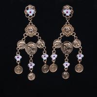 2014 popular women statement earrings vintage baroque head pattern small flower dangle earrings 10pairs/lot x487